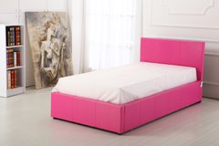 Boston pink faux leather single ottoman storage bed