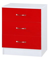 Marina red gloss & ash white chest of 3 drawers