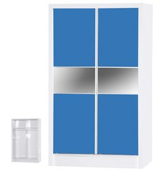 Alpha slider blue gloss & white 2 door wardrobe