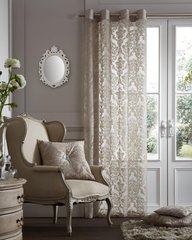 Flock damask mink voile eyelet curtain panel