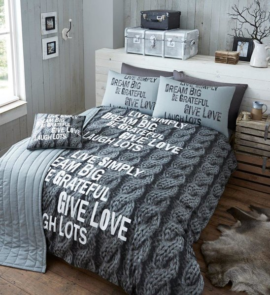 Knitted grey 5pc duvet cover set