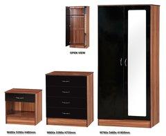 Alpha mirrored black gloss & walnut 3 piece bedroom furniture set