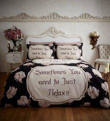 Relax black flannelette duvet cover