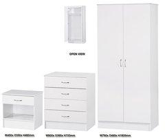 Alpha white gloss 3 piece bedroom furniture set