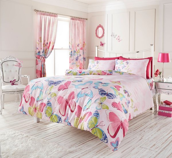 Fashion Butterfly pink duvet cover