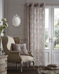 Flock damask silver voile eyelet curtain panel