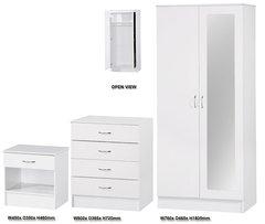 Alpha mirrored white gloss 3 piece bedroom furniture set