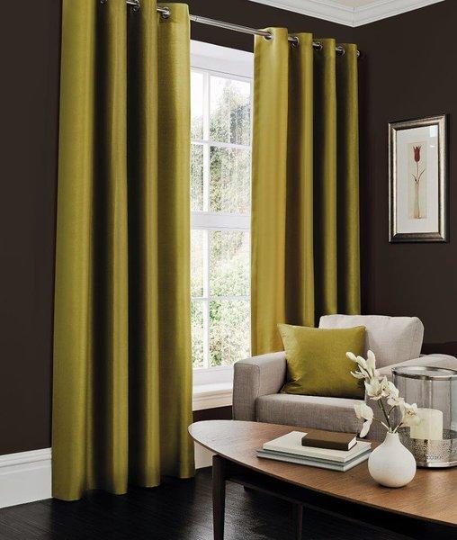 Faux silk green eyelet curtains