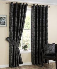 Silvana black eyelet curtains