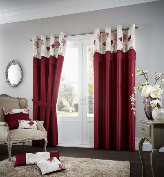 Floral strip red eyelet curtains