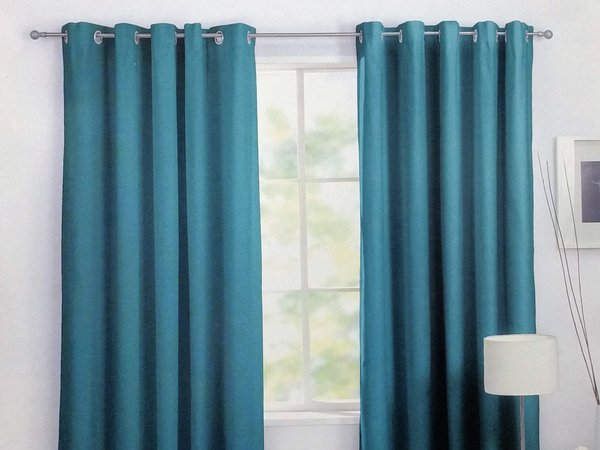 Teal ring top cotton canvas curtains