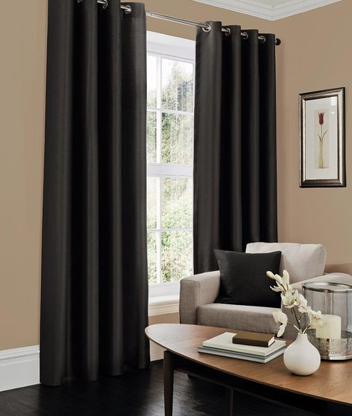Faux silk black eyelet curtains