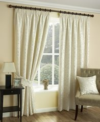 Chelford ivory pencil pleat curtains