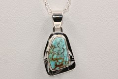 Number 8 Mine Turquoise Pendant & Chain - N84403