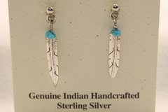 Feather & Turquoise Nugget Earrings - ER633