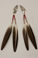 Set of 2 Beading & Feathers Hair Barrettes - HC538 - SOLD