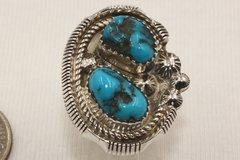 2 Stone Kingman Mine Turquoise Ring - R3604