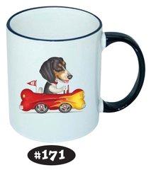 Beagle in a Bone Hot Rod Ceramic Mug 11 oz