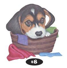 """Beagle in a Basket 8.5"""" x 11"""" Prints"""
