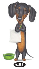 "Dachshund with Sign and Bowl Print - 8.5"" x 11"""