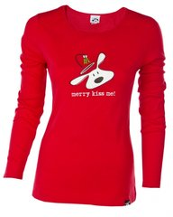 Ladies Long Sleeve T-Shirt: Merry Kiss Me