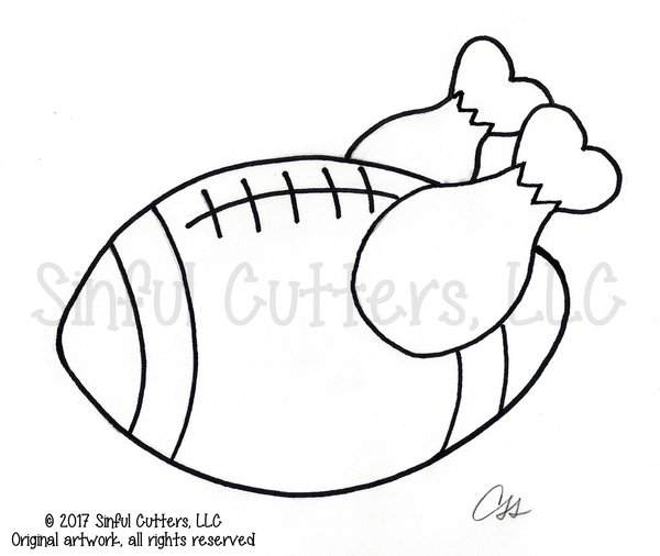 football cookie cutter template - football turkey cookie and fondant cutter sinful cutters