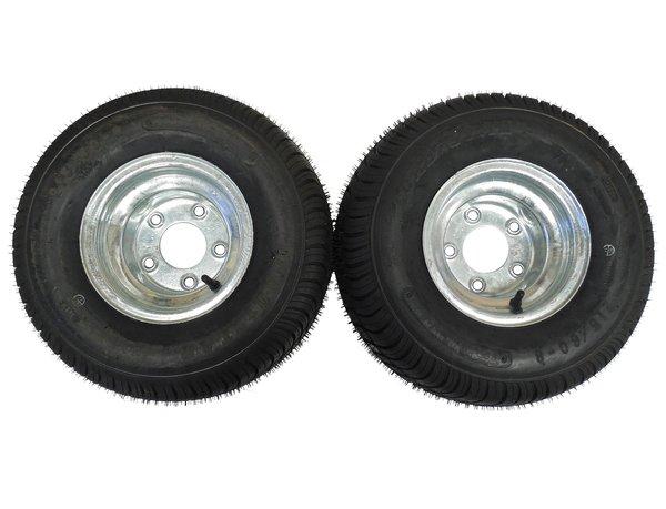 18.5 X 8.5 - 8 (215/60-8) GALVANIZED Snowmobile trailer tire & wheel (1 PAIR)- TRITON, R&R