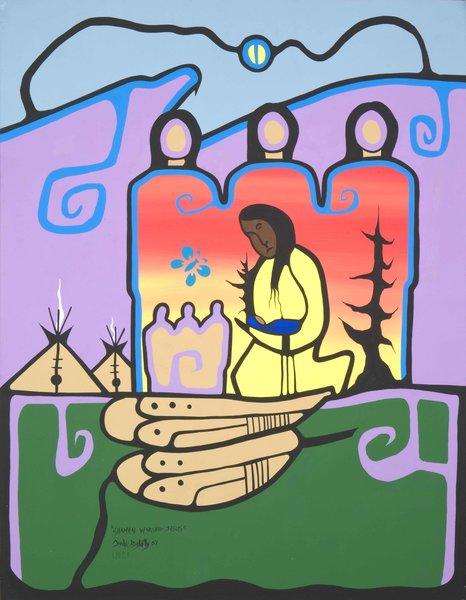 """Shamen Worshipping Jesus 12 x 18"""""""