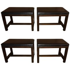 SOLD!! Four Walnut Black Leather Benches by Edward Wormley for Dunbar