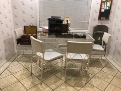 SOLD - Mid Century Modern Indoor/Outdoor White and Leather Wrought Iron Dining Set