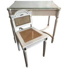 Maison Jansen Style Vanity or Desk Glass Top and Gilt Chair