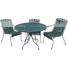 SOLD - Great Outdoor Set Mid-Century Modern Design Five-Piece Round Table Mesh