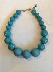 Vintage Robin's Egg Blue Bauble Beads Necklace