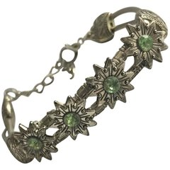 SOLD!! 1940s Silver Peridot Edelweiss Flowered Bracelet Sweet Sophistication