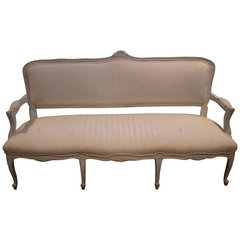 Fabulous Maison Jansen Style French Upholstered Canape/Bench White Cotton