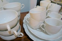 SOLD! Discontinued Set of 96 Pieces Romantica Kairom White Ribbed Scalloped Dishware