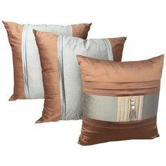 Three Lee Jofa Silk Pillows Sandstone Brown, Graphite Blue and Indian River Taup
