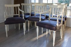 Superb! Set of 8 Gustavian Dining Chairs Plum Fabric w Plum Piping Exquisite!