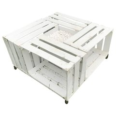 SOLD - Handmade Outdoor Pallet Wood Painted White with Gravel Center Table