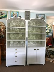 On Sale Now! Mid-Century Modern Satin White and Zinc Cabinets