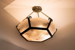 French Art Deco Hexagon Chandelier -- Beautiful Etched Glass with Floral Design