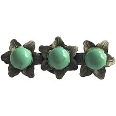 1940's Pin/Brooch Silver With Turquoise Stone Design of Edelweiss Bavarian