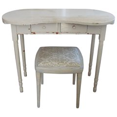 SOLD - Petite Hollywood Regency/Shabby Chic Distressed White Vanity & Upholstered Bench