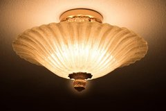 SOLD! Art Deco Flush Mount Glass and Gold 1920's Chandelier