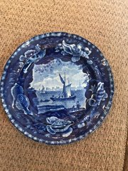 American Historical Dark Blue Staffordshire Plate with Shell Border