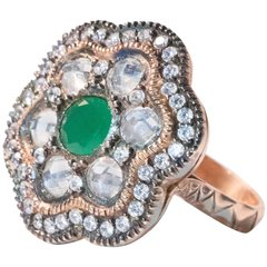 ON SALE NOW!1 Stunning Vintage Swavorski Emerald, Zirconia and Crystal .925 Rose Plated Ring