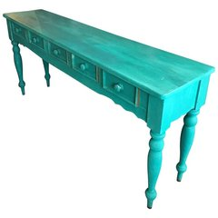 SOLD - Shabby Chic Beach Cottage Farmhouse Teal Console, Pine Painted, Five Drawers