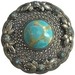1960's Saxon Style Shield Brooch Filigree Backing Turquoise Center And Flowers