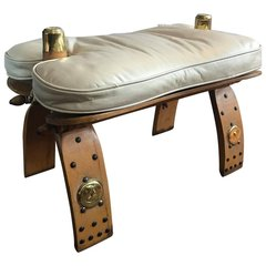 SOLD - Unique Egyptian Camel Bench or Ottoman Creme Colored Leather Seat
