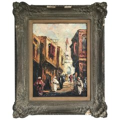 """SOLD - """"A Street in Cairo"""" circa 1934, Oil on Masonite, Signed """"L. Gechtoff"""""""